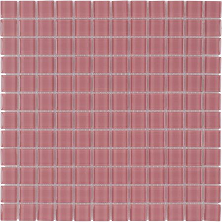 MTO0370 Modern 1X1 Stacked Squares Faded Red Blend Glossy Glass Mosaic Tile