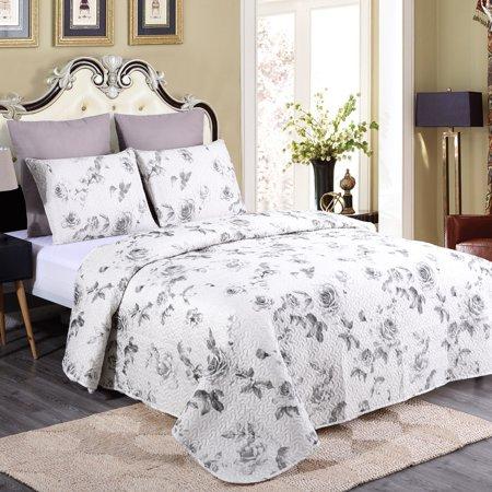 Luxe Decor Premium Floral 3-Piece Full/Queen Quilt & Sham Bedding Set ()