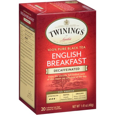 (4 Boxes) Twinings of London Decaffeinated English Breakfast 20 ct Tea Bags 1.41 oz (Barrys Decaffeinated Tea)