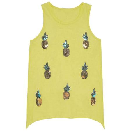 Girls Yellow Sequin Pineapple Tank Top Fruit Themed Shirt Girls Yellow Top