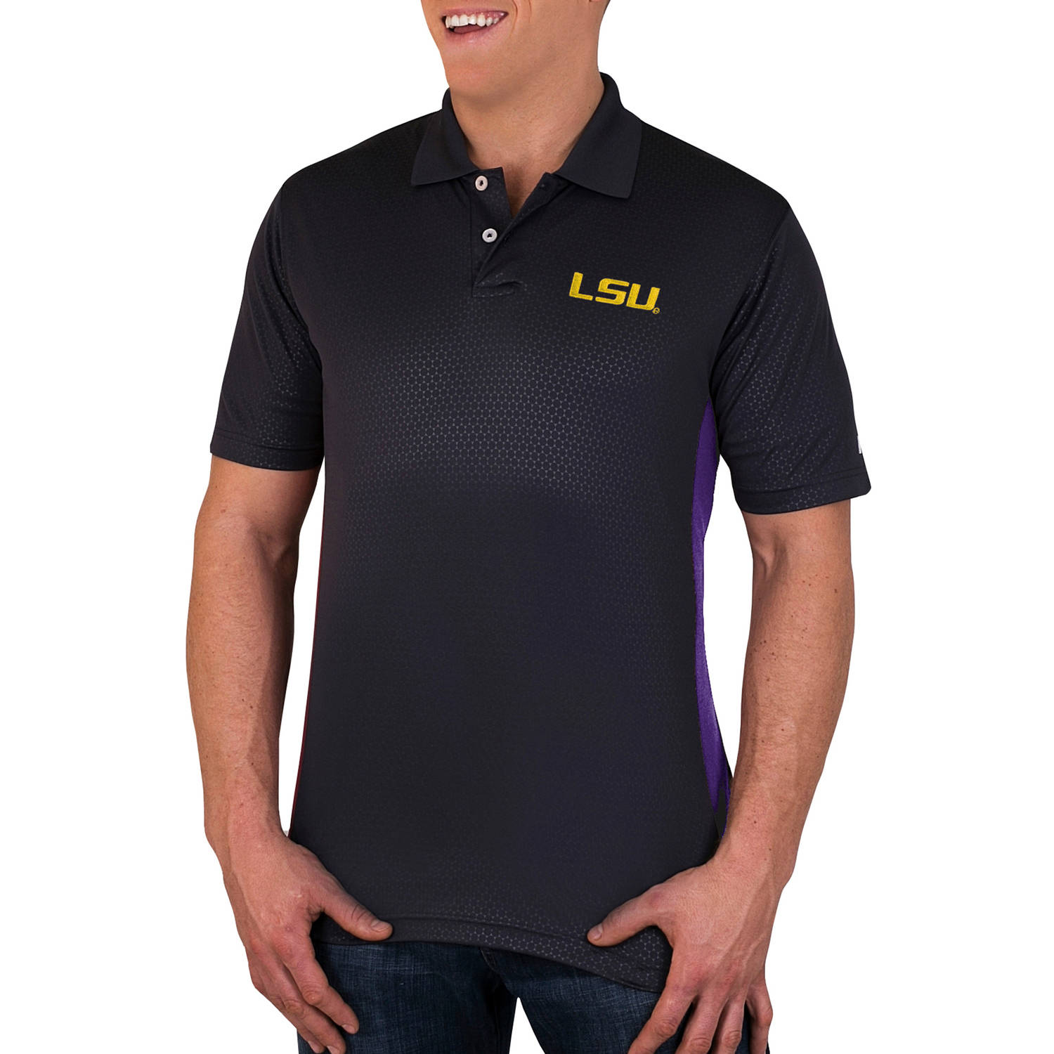 NCAA LSU Tigers Men's Synthetic Embossed-Pattern Polo