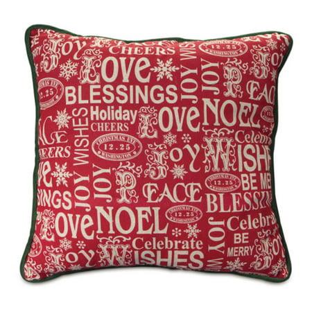 Joy Christmas Throw Pillows : 16? Red ?Love, Noel, Blessing and Joy? Christmas Throw Pillow with Green Trim - Walmart.com