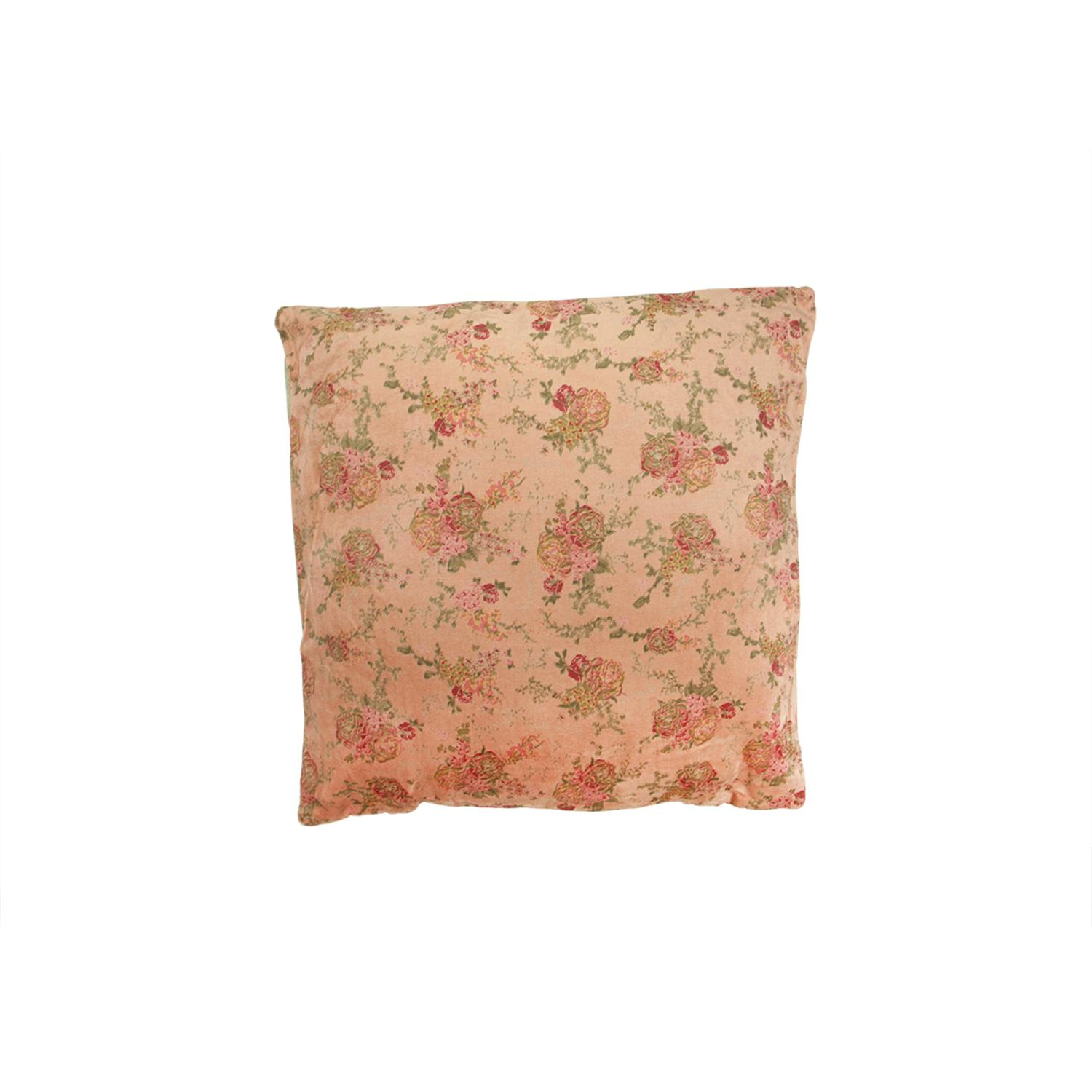 "15.75"" Vintage Rose Pink and Taupe Patterned Veleveteen Floral Throw Pillow"