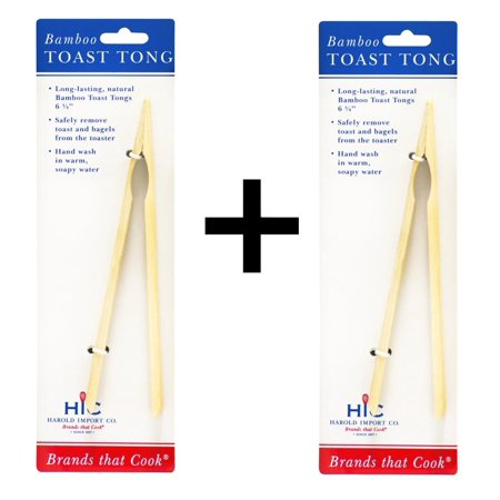 HIC Bamboo Toast Tong(2Pack), Made of durable, long lasting bamboo By HIC Porcelain (Made Porcelain)