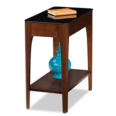 Modhaus Living Modern Wood 24 Inch Narrow Chairside End Table With Tempered Black Gl Top Contoured