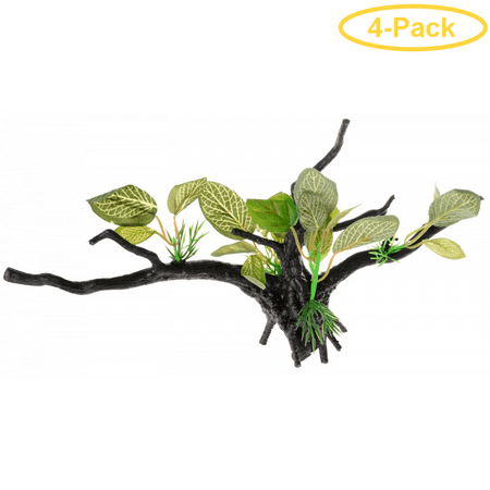 Penn Plax Driftwood Plant - Green - Wide 1 Count - Pack of 4 ()