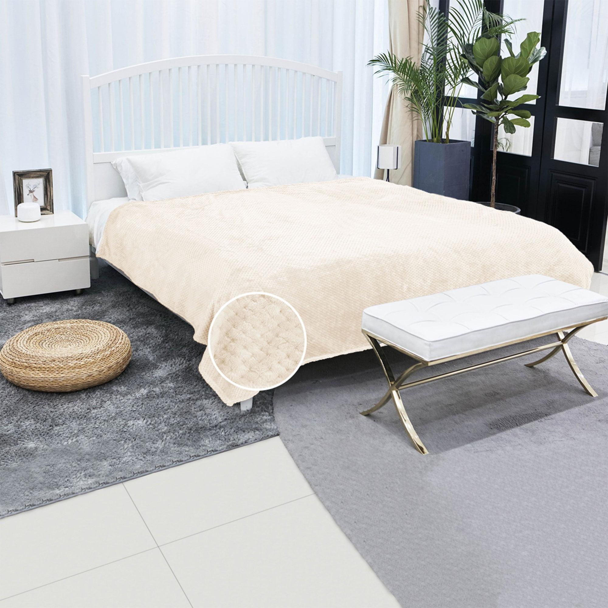"""Soft Warm Fleece Bed Blanket Large Mesh Flannel Blankets Queen Dark Green 78"""" x 90"""""""