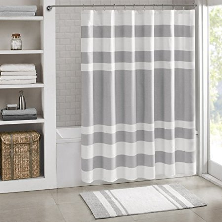 "Madison Park - Spa Reversible Cotton Bath Rug - Grey - 20(W)"" x 30(L)"" - Striped - Water Absorbent- Fast Drying- Bath Mats - Feels Fluffy - Stylish & Sophisticated - image 1 of 3"
