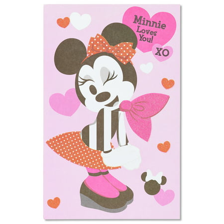 American Greetings Minnie Mouse Hearts Day Valentine's Day Card with Glitter - Minnie Mouse Thank You Cards