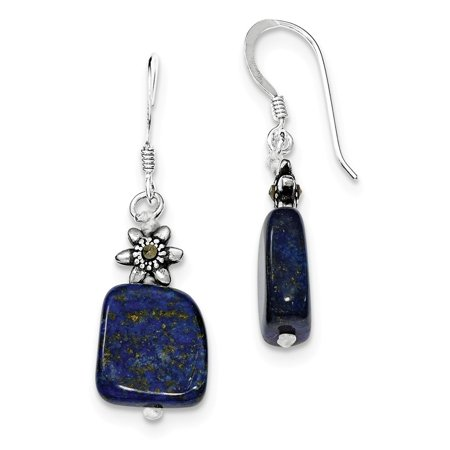 925 Sterling Silver Lapis Lazuli and Marcasite Dangle Earrings