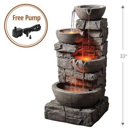 Peaktop - Outdoor Stacked Stone Tiered Bowls Fountain w/ LED Light Cast Stone Outdoor Water Fountain