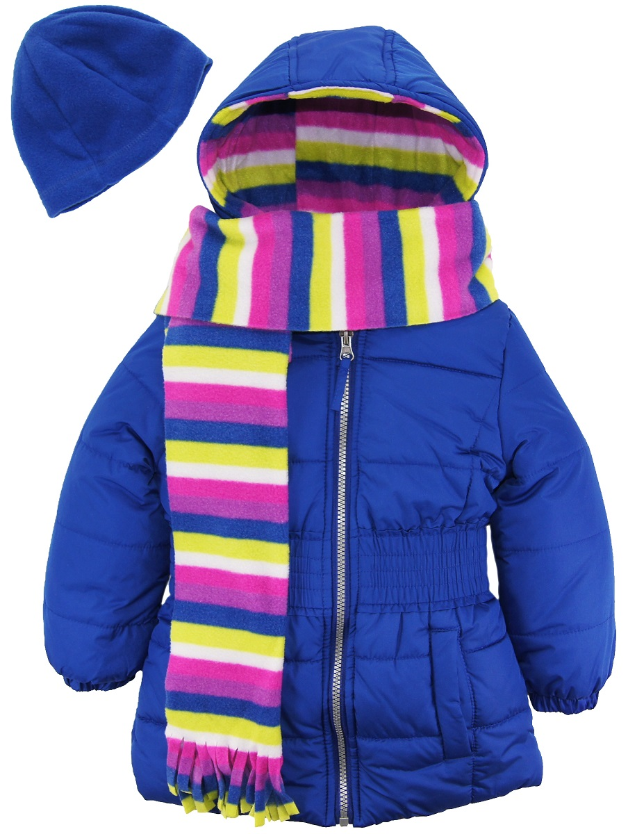 Pink Platinum Girls Multi-color Striped Fleece Lined Puffer Coat Hooded Jacket with Stripe Scarf and Hat