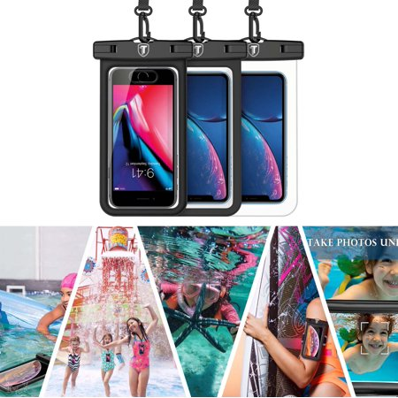 "Waterproof Phone Pouch, Tekcoo 1 Pack IPX8 Universal Floating Waterproof TPU Phone Case with Armband Lanyard for Apple iPhone 6, Samsung, Motorola, LG Phoenix 4, HTC, Alcatel up to 6.0"" diagonal"