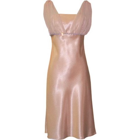 Satin Chiffon Prom Dress Holiday Formal Gown Bridesmaid Crystals  Knee-Length Junior Plus Size, 4X, Gold