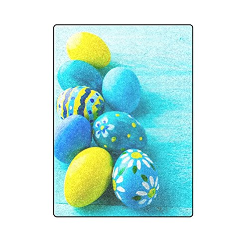 CADecor Row Of Blue Hand-Painted Easter Eggs On Blue Wood Fleece Blanket Bedroom Wrap Throw 58x80 inches