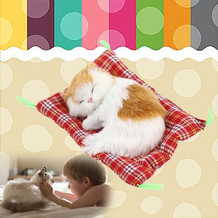 New Lovely Cute Small Simulation Animal Craft Doll Plush Lazy Sleeping Cats with Sound Kids Toy Birthday Gift Doll Stuffed Toy for $<!---->