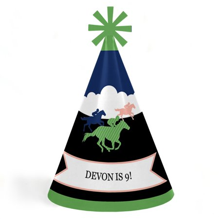 Kentucky Horse Derby - Cone Happy Birthday Party Hats for Kids and Adults - Set of 8 (Standard Size) Derby Hat Eight Cone
