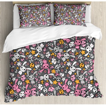 Doodle Queen Size Duvet Cover Set, Kawaii Bunnies and Clouds with Cute Heart Eyed Skulls Japanese Anime Design Print, Decorative 3 Piece Bedding Set with 2 Pillow Shams, Multicolor, by