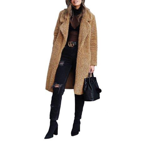 Women Thick Warm Fluffy Fleece Long Trench Coat Jacket Faux Fur Borg Outwear Warm Overcoat Ladies Open Front Lapel Cardigan Outwear Coat Womens Faux Fur Coats