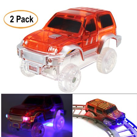 2 Pack Children Electric LED Glow In the Dark Race Car Vehicles for Shining Race Track Kids Toys (Dirt Race Cars For Sale In Florida)