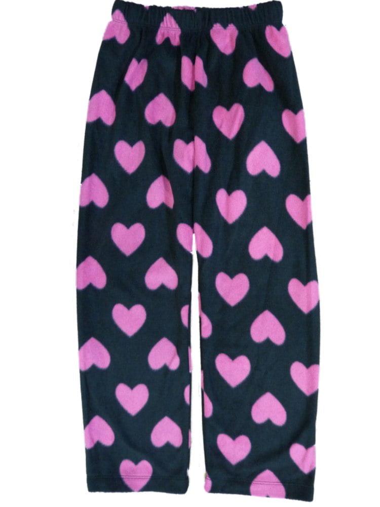 girls black & pink heart fleece sleep pants pajama bottoms lounge