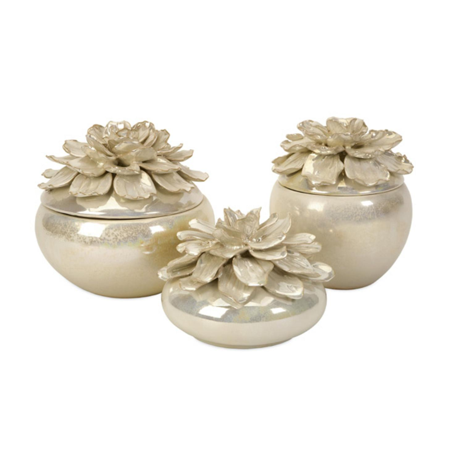 Set of 3 Lustrous Country Chic Bianca Hand-Sculpted Ceramic Floral Boxes