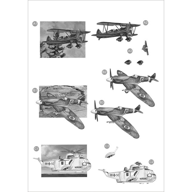 "3D Die-Cut Decoupage Sheet 8.3""X11.69""-Monochrome Planes"