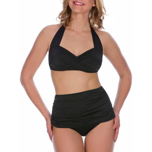 Suddenly Slim By Catalina Women's Slimming High-Waisted Bikini 2 Piece Set