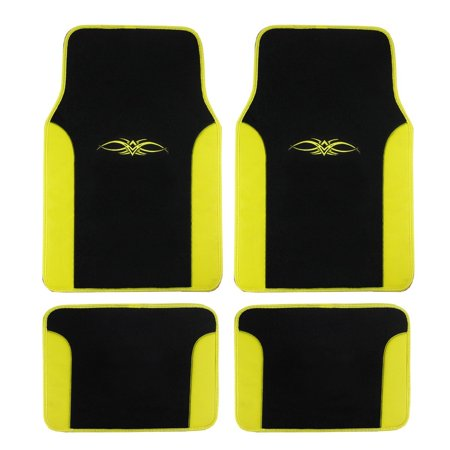 Universal Fit Synthetic Leather And Carpet Front And Rear Automotive Tribal Floor Mats   Yellow  Traditional Tribal Design By Bdk