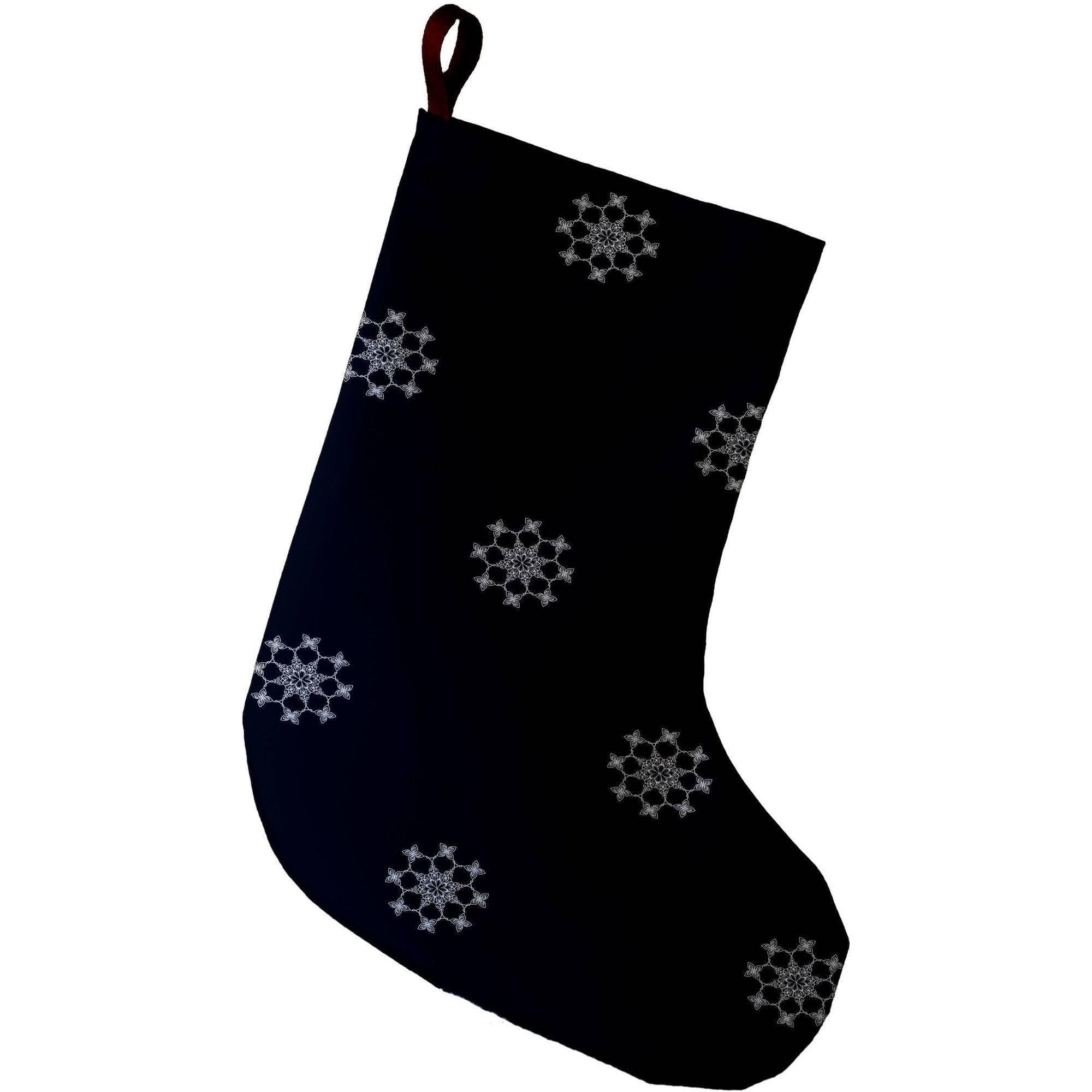 E By Design Simply Daisy, 9 x 16, Falling Snow, Decorative Holiday Geometric Print Stocking