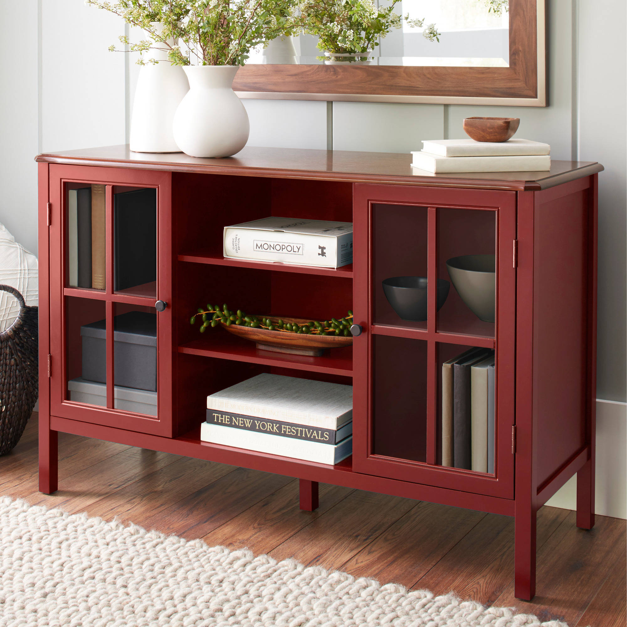 10 Spring Street Hinsdale 2-Door with Center Shelves Console Cabinet, Multiple Colors