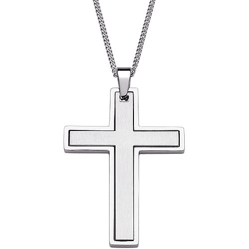 Two-Piece Matte and Polished Cross Stainless Steel Pendant, 20