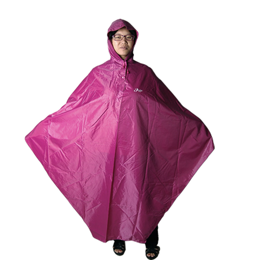 Bicycle Riders Seams Sealed Fuchsia Hooded Rain Coat by