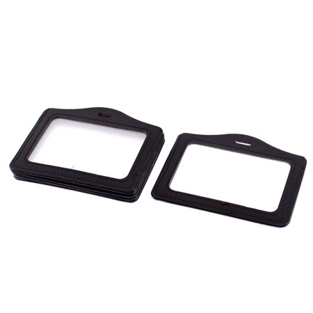 Horizontal Type Credit Badge Name ID Card Holder Black Clear 5Pcs