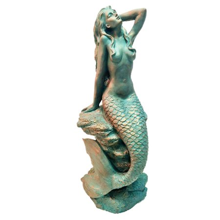 Homestyles 20 in. Bronze Patina Sexy Mermaid Sitting on Coastal Rock Beach Nautical Extra Large (Boom Beach Best Statues)