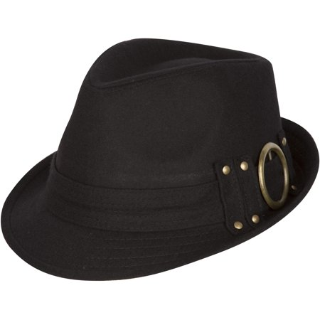 Sakkas Sammy Structured Wool Fedora Hat - Black - One Size](Black And Red Fedora)