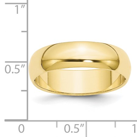 10K Yellow Gold 6mm Half Round Band Size 12.5 - image 2 de 3
