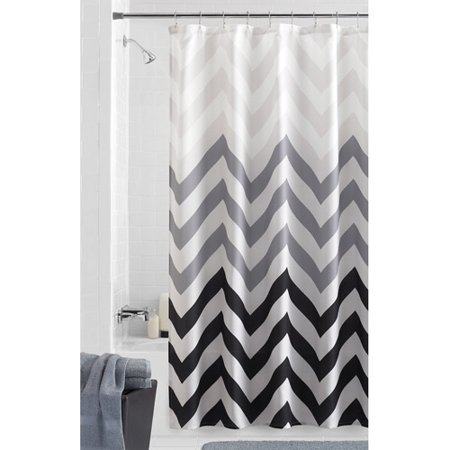 White Curtains black and white curtains walmart : Mainstays Flux Fabric Shower Curtain - Walmart.com