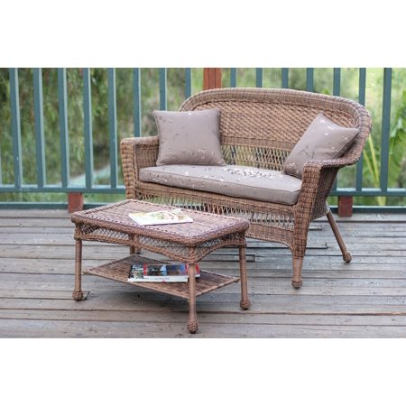 2-Piece Oswald Honey Wicker Patio Loveseat and Coffee Table Set - Brown Cushion