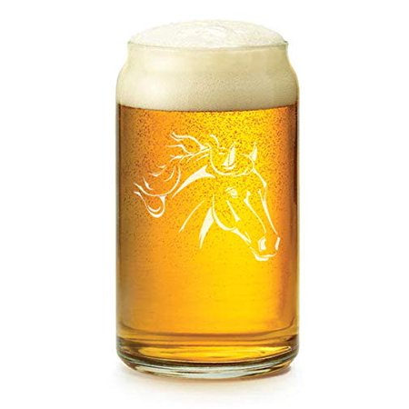 16 oz Beer Can Glass Horse Head