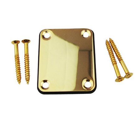 Guitar Neck Ferrules - Alloy Neck Plate with 4 Screws Replacement Part for ST Fender Electric Guitar Bass