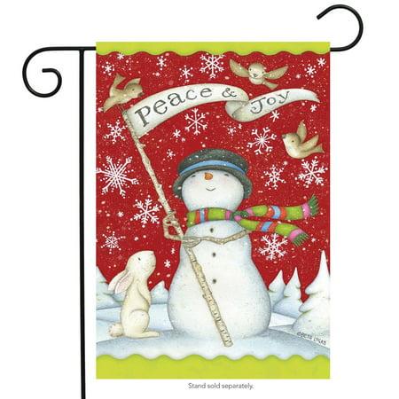 Peace and Joy Christmas Garden Flag Primitive Snowman Birds Bunny 12.5