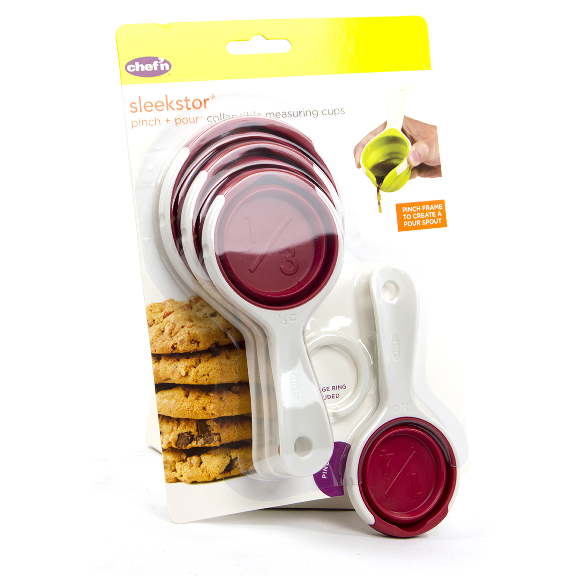 Chef'n SleekStor Pinch+Pour Collapsible Measuring Cups (Cherry)