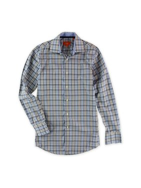 Tallia Mens Plaid Ls Button Up Shirt, blue, X-Small