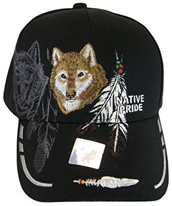 NATIVE PRIDE WOLF FEATHERS CAP HAT NAVY NEW