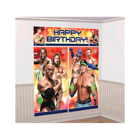 Novelty Character Party Decor Amscan WWE Party Scene Setter Wall Decorating Kit (5pc Set) (Multipack of 3)
