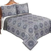 Reversible Grey Sophie Patchwork Pom Pom Trim Quilted Bedspread with Decorative Accent Pattern, Solid Grey Pattern on Reverse Side