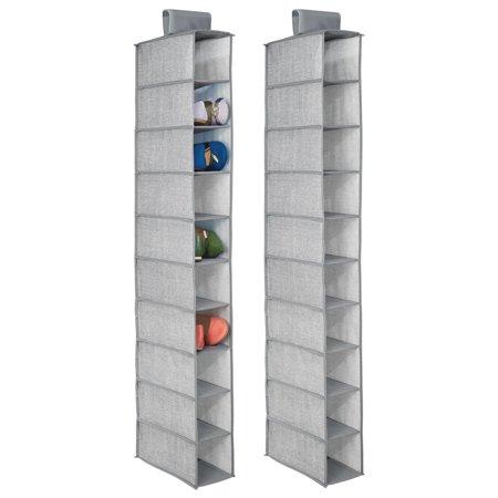 Shoes Fabric Handbags (mDesign Fabric Hanging Closet Storage Organizer, for Shoes, Handbags, Clutches - Pack of 2, 10 Shelves,)