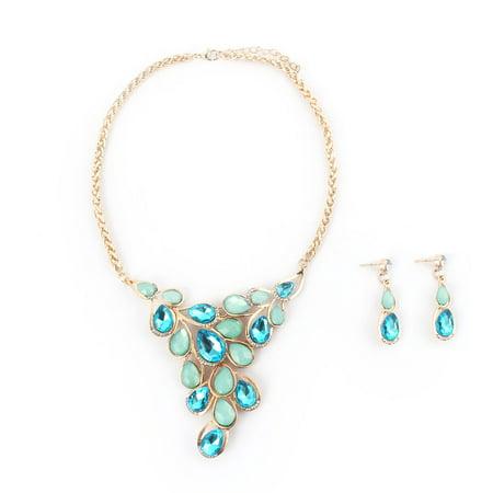 Women Metal Leaf Design Bib Collar Charming Choker Necklace Earrings Blue Set - image 4 of 4