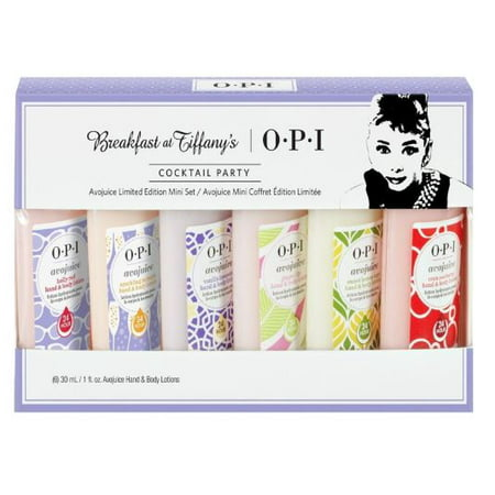 OPI Avojuice Breakfast At Tiffanys Set, 6 Pieces with Set 6 x 1oz Avojuice Hand and Body